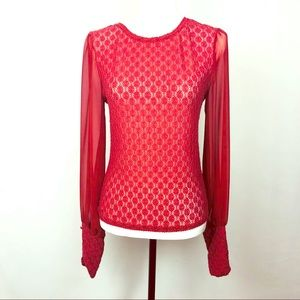 Free People Sheer Red Lace Blouse Size M